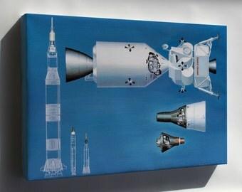 Canvas 16x24; Nasa Spacecraft From Mercury Gemini Apollo