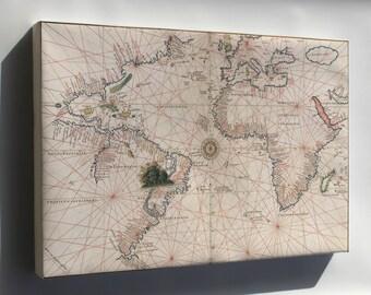 Canvas 16x24; Map Of Atlantic Ocean And America 1544