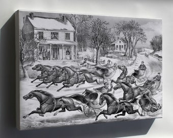 Canvas 16x24; Brush For The Lead, Lithograph By Currier And Ives, 1867