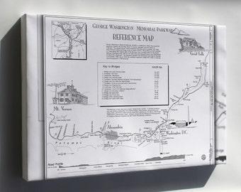 Canvas 16x24; George Washington Memorial Parkway Map; Mount Vernon Virginia