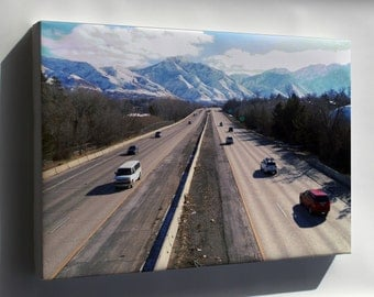 Canvas 16x24; Interstate 80 At The 1700 South Overpass In Salt Lake City Eastbound 01