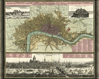 16x24 Poster; Map Of London In German 1740