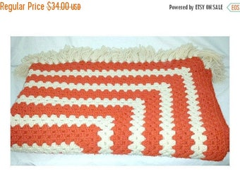 Vintage Crocheted Afghan,Large,Granny Square,Orange,White,Crochet Afghan,Granny Square,Blanket,KITSCHY,Crocheted Throw,Texas,Longhorns