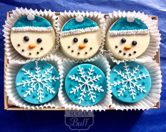 Winter Chocolate Covered Oreos - Box of 6 Decorated White Chocolate Covered Oreo Cookies
