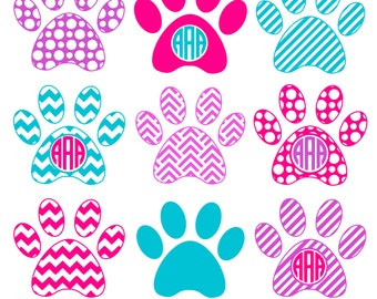 Paw Print SVG, Paw Print Monogram, Dog Paw SVG, Die Cuts, Cutting File, Vinyl Cutter, Monogram Frames, Dog Paw Monogram, Commercial Use.