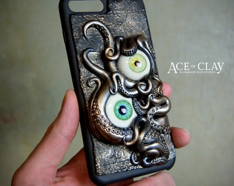 Phone Case for iPhone 7 Plus - steampunk tentacle tentacles cellphone cell phone cases octopus weird scifi accessory sculpture ooak art