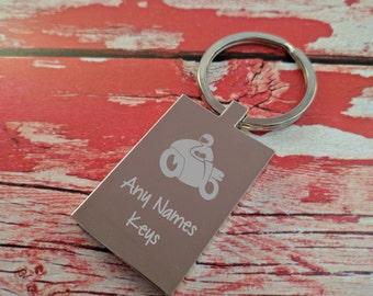 Engraved Keyring - Key Chain - Key Ring - Personalised Gift - Motorbike Keys - Custom Gift - Engraving on the Back