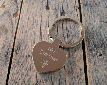 Engraved Heart Keyring - Key Chain - Key Ring - Personalised Gift - My Brother - Custom Gift - Engraving on the Back
