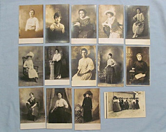 Fourteen 14 RPPC Postcards, Studio Portraits of Women - Clothing, Hairstyles, Hats, Real Photo, Circa 1910