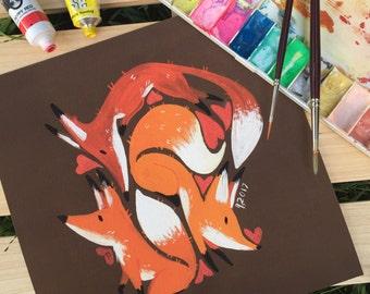 Animal Love - Foxes - Giclee print - 21x21cm