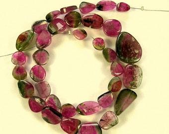 "Watermelon tourmaline slice beads AA 8-19mm 14"" strand"