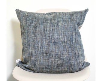 "20"" x 20"" Blue Tweed Throw Pillow Cover (Brown Back) - COVER ONLY"