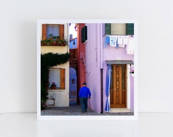 Sunday in Burano - Fine-Art Print on Hahnemühle Photo Rag or Satin Matte Paper - 12x12 inches - Travel Photography - Gift for home decor