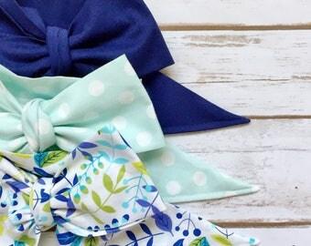 Gorgeous Wrap Trio (3 Gorgeous Wraps)- Navy, Dottie Pistachio & Periwinkle Blue Floral Gorgeous Wraps; headwraps; fabric head wraps; headba