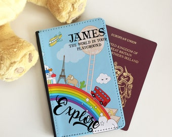 Personalised World Rainbow Passport Cover - Passport Case - Passport Wallet for kids