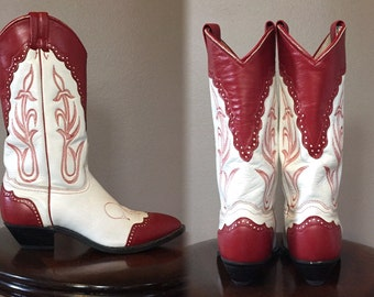 Vintage red and white cowboy boots/Wingtip/WESTERN/Size:7.5