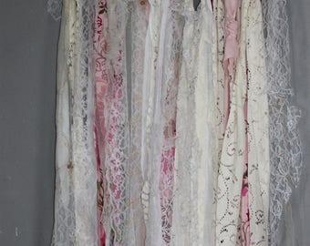 Vintage Fabric Boho Wall Hanging on Birch Branch