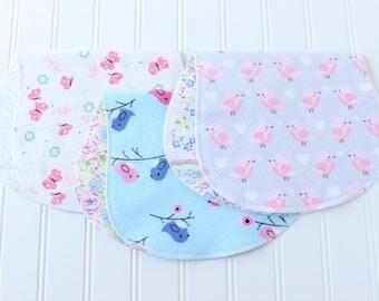 Baby Girl Burp Cloths - Set of 3 - Baby Gift - Baby Shower Gift - Aztec