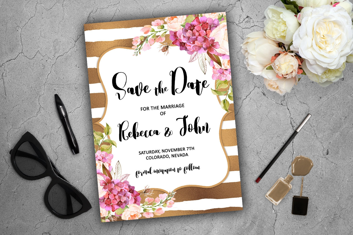 Purple hydrangea wedding invitation sample -  Hydrangea Peony Oval Framed Wedding Invitations Save The Date Gold And White Cards Stripes Spade Theme Gold Stripes Flowers Fl Glitter Pink