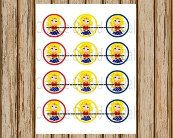 INSTANT DOWNLOAD- Wonder Woman Cupcake Toppers- Superhero Cupcake Toppers- Wonder Woman 2 Inch Cupcake Topper- Digital Image- 8.5 x 11