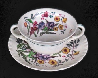 Wedgwood Handled  Soup Bowl and Saucer in the Robert Sprays pattern circa 1950s