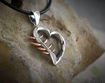 Silver Heart pendant, Corazón Espinado Pendant,SterlingSilver Pendant, Silver necklace