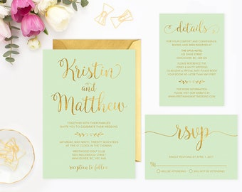 Mint Gold Wedding Invitation Set, Printable Gold Wedding Invitation Suite, Wedding Invitation Template, Faux Gold Foil Wedding Invite MGFWF