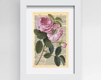 Wall Art Roses Print, Printable Wall Art, Floral Print, Flower Print, Roses Print, Pink Roses Art, Vintage Rose Print, Flower Wall Art,