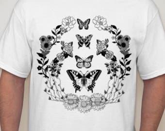 Bassnectar shirt - flowers and butterflies