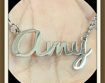 Personalized Name Necklace - Stainless Steel - Name - Initial - Surname - Nickname - Pendant - Charm -  Name Plate - Name Charm