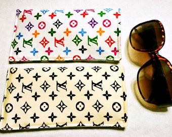 Soft Sunglasses Case with Louis Vuitton Print Fabrics Handmade