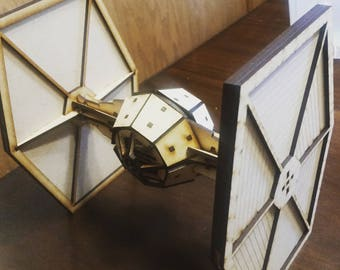 Similar to Star Wars Tie Fighter wood laser cut model