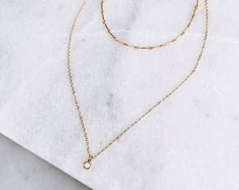 Layering Choker Necklace, Bar Chain, 14k Gold Fill, Swarovski Necklace, Delicate Crystal Necklace, Prom, Dainty Necklace, Layered Necklace,