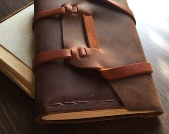 Leather handmade 5x7 journal with refillable parchment pages