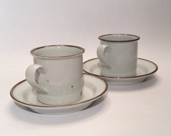 Dansk Brown Mist Coffee Mug Cup & Saucer, Set of Two, Vintage Stoneware Speckled Brown Trim, Made in Japan