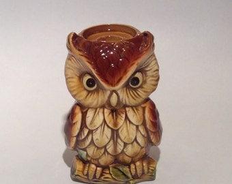 Vintage Owl Candle Holder Ceramic Novelty Inarco Japan