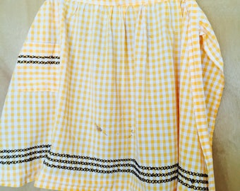Vintage Yellow and White Apron Gingham Half Aprons Mid Century Cotton Linen Kitchen