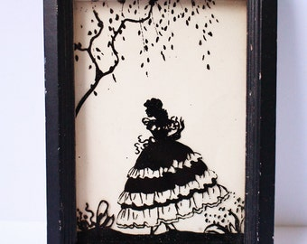 Vintage Retro 50s Silhouette Glass Pretty Victorian Lady Scene Picture Wall Hanging A4