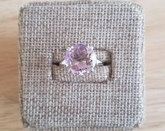 12mm Round Amethyst Sterling Silver Ring Size 7