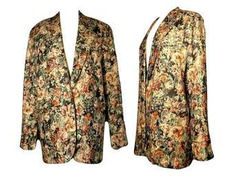Women's Vintage Coat, floral jacket, tapestry coat, brocade coat, floral blazer, tapestry jacket, carpet coat, Renaissance coat | L