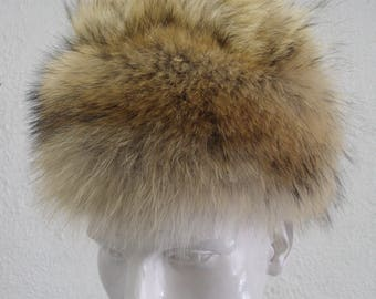Brand new natural coyote fur hat men man woman women size all custom made