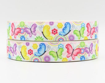 7/8 inch - Colorful and Cute Butterflies Butterfly on White - Printed Grosgrain Ribbon for hair bow