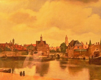 1936 View of Delft Matted Vintage Print