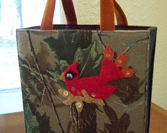 wool tote bag,appliqued cardinal,patch NYC,Ross & Carney,camoflauge purse,nature inspired tote,wool felt red bird,unique tote,vintage tote