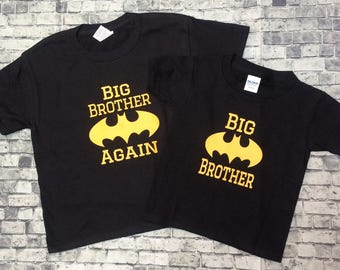 2 Personalized baby Boy im the Big/Little Brother/ onesie and shirt matching sets baby shower gift any size batman/Superman christmas gift