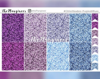 Glitter Headers - Purples & Blues - 56 Headers