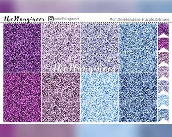 Glitter Headers - Purples & Blues - 56 Headers