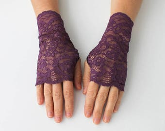 Maroon  Lace Gloves, fingerless mittens, gift for her,
