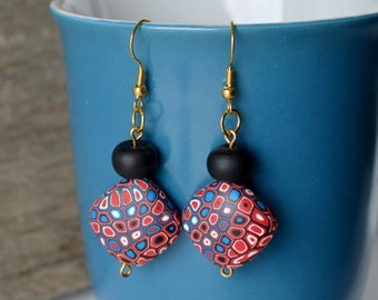 Red and Blue Retro Dangling Polymer Clay Earrings