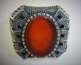RESERVED: Aqeeq-Silver Ring, Silver-Ring with Agate Stone, US Size 10,5, Arabic Ring, African Silver-Ring, Islamic Ring, Carnelian Ring